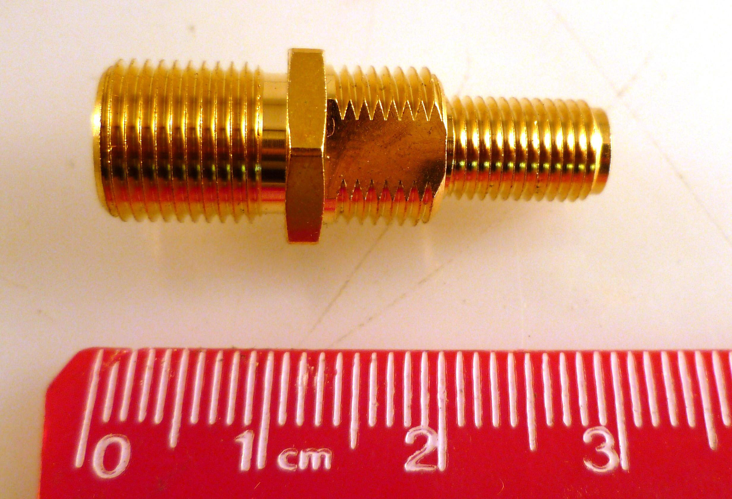 2 pcs Conector  coaxial F hembra adaptador en T PAL de en tono Oro chapado