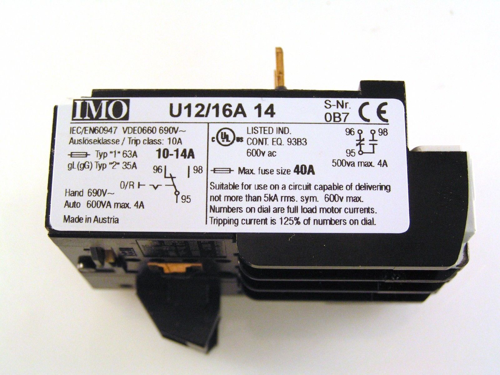 IMO U12//16A 14 Thermal Overload Relay 10-14A MBB003d